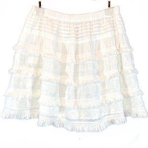 Hinge white elastic waist fringe trim mini skirt